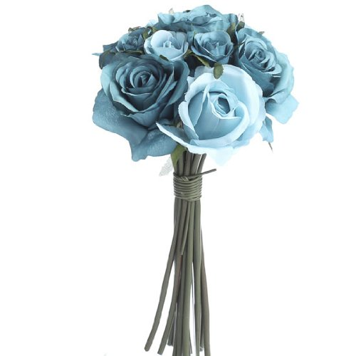 Sweet Nosegay Bunch of Artificial Silk Mixed Teal Colored Romantic Roses and Tea (Silk Rose Nosegay)