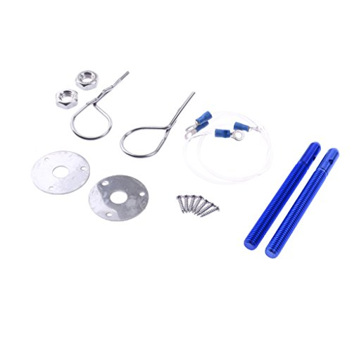 MonkeyJack Universal Car Engine Lock Bonnet Plus Flush Hood Latch Pin Kits - Silver&Blue