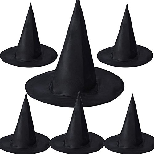 Start 6PCs Womens Black Witch Hat Costume Accessory For Party & Halloween & Carnivals -
