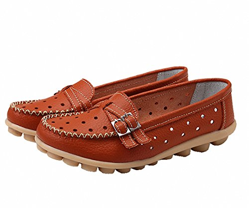 Loafer Shoes,Women Loafers Flat Slip-on Slippers Hollow Sandals Driving Shoes Orange
