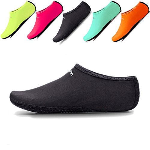 JIASUQI Womens and Mens Comfort Barefoot Quick-Dry Water Shoes Aqua Socks For Beach Pool Surf Gym Black US 8.5-10.5 Women,7-8 Men