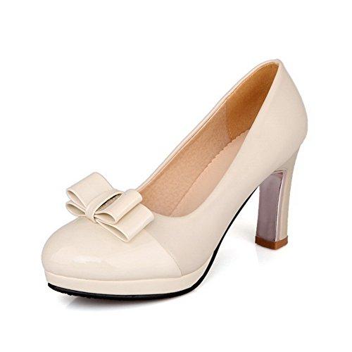 VogueZone009 Damen Rein Hoher Absatz Ziehen auf Rund Zehe Pumps Schuhe Cremefarben