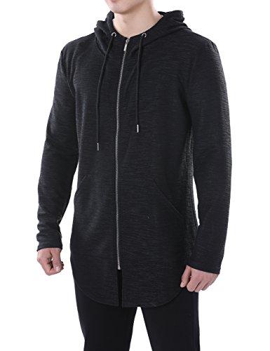 HEQU Men's Lightweight Full Zip Hoodie Jacket Curved Hem Active Sweatshirt with Pockets Black (Lightweight Zip Cardigan)