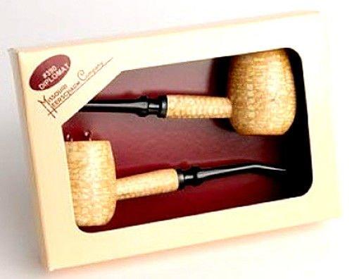 Missouri Meerschaum Diplomat Corncob Gift Set Two 2 Tobacco Smoking Pipes - 5601