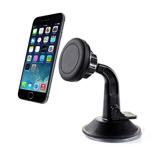 (2-Mounts + 6-Mating Plates) Universal Car Magnetic Mount – Phone, GPS, Camera (Window, Dashboard, Dash, Door, Windshield, Desk, Wall)