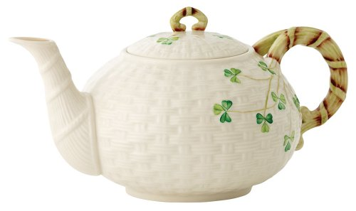 Belleek Group 0016 Shamrock Teapot, 35 Fluid Ounce, White