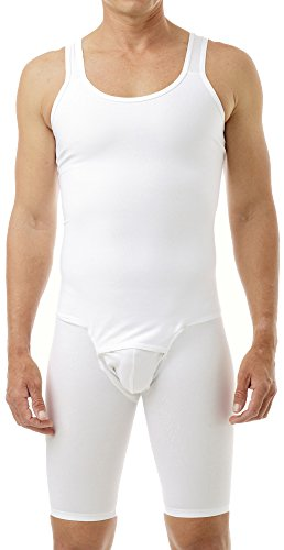 Underworks Mens Compression Bodysuit Girdle Shirt 2X White
