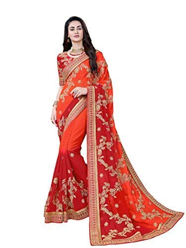 MANOHARI Women's Georgette Embroidered Saree with Blouse Piece(MN356_Orange_Free Size)