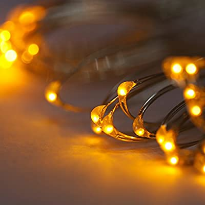 Pansdore 30 Min LED Christmas tree Lights. String Lights with Waterproof Battery Box and Timer Function. 10.8Ft Silver Ultra Thin Copper Wire. Indoor/ Outdoor Rope Lights.