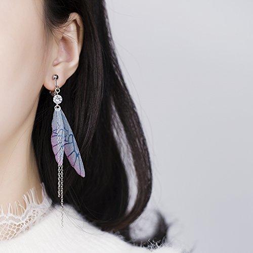 KENHOI Beauty elf fairy tale fairy wings fantasy colored tassels long earrings earings dangler eardrop onion skin xian qi