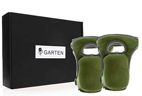 Comfortable Green Knee Pads for Gardening Construction & Flooring - Kneeling Garden - Multi-use and Light Neoprene Fabric - Adaptable Straps - Stylish and Unique design by GARTEN PRO