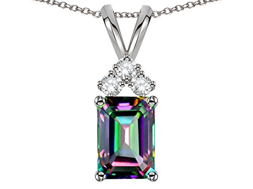 Star K Classic Emerald Octagon Cut 8x6mm Rainbow Mystic Topaz Rabbit Ear Pendant Necklace 14k White Gold