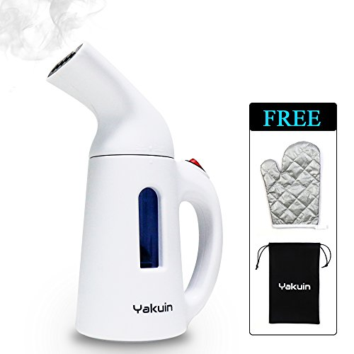 Garment Steamer, Handheld Clothing Steamer, 130ml Portable Steamer for Garment, Clothes, Fabric, Wrinkle Remover, Cleaner, Sterilizer, with Fast Heat-up, Automatic Shut-Off Safety Protection, White by Yakuin