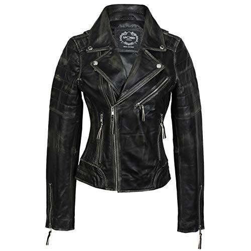 Ladies Real Leather Biker Jacket Black Vintage Style Rub Off Effect Retro Slim Fit