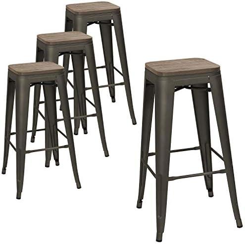 Best outdoor bar stool: Devoko Metal Bar Stool 30'' Indoor Outdoor Stackable Barstools Modern Industrial Square Wood Top Bar Stools Set of 4 Gun