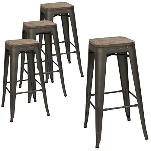 (Devoko Metal Bar Stool 30'' Indoor Outdoor Stackable Barstools Modern Industrial Square Wood Top Bar Stools Set of 4 (Gun))
