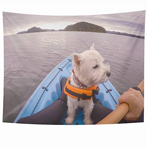 Ahawoso Tapestry 90x60 Inch POV Blue Kayaking West Highland White Terrier Westie Dog Adventure Sports Recreation Bay Jacket Tapestries Wall Hanging Home Decor for Living Room Bedroom Dorm