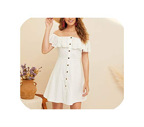 (Peals Off Shoulder Laser Cut Button Front Summer Dress Women Clothes Sleeveless Solid A Line Mini Dress Ladies White Dress,White,S)