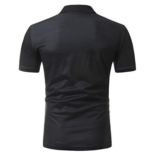 Polohemd Herren Herren Druckblusen Longra Poloshirt Hemd Stehkragen Hemd Sommerblusen Top Polo Hemden Basic Shirt Black Shirt Kurzarm Herren zECzwxqI