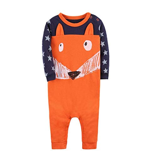 Price comparison product image Newborn Baby Boy&Girl 3D Cartoon Fox Star Romper Comfort Long Sleeve Jumpsuit Home Sleepwear Party Outfits (Orange,  12 Months)