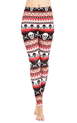 Stripe Waist Fleece Pant - DawnRaid Womens Ultra Soft Brushed Christmas Leggings Pants Skull Stripes Printed L