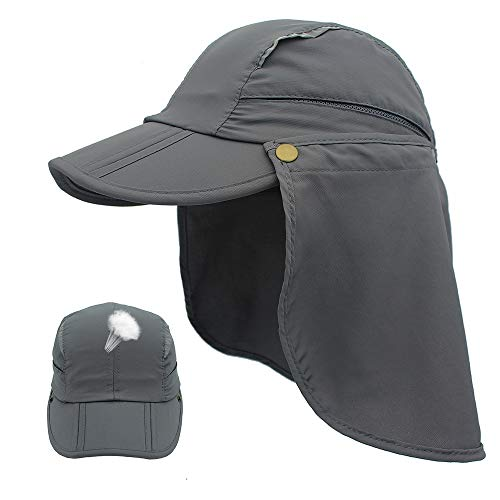 (Outdoor Sun Protection Hat Quick Dry Sun Caps Portable UV SPF 50+ Baseball Cap with Neck Flap Cover for Kids & Women & Men (Grey, S(for Kids)) )