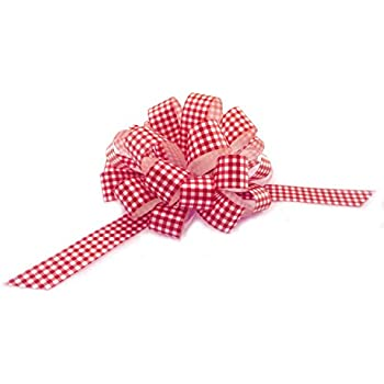 """Red White Gingham Pull Bows with Tails - 8"""" Wide, Set of 6, Easter Ribbons, Gift Basket Decorations"""