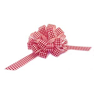 "Red White Gingham Pull Bows with Tails - 8"" Wide, Set of 6, Christmas Ribbon for Gifts, Wreaths, and Swags"