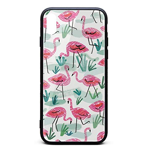 Flamingo and Tropical Leaves Drawings 2018 Phone Case for iPhone Xs Max TPU Full Body Protection Cute Anti-Scratch Fashionable Glossy Anti Slip Thin Shockproof Soft Case