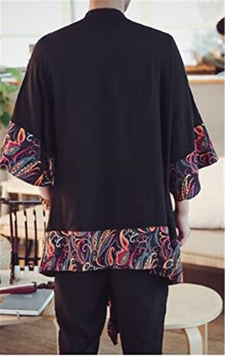 (グードコ) 麻綿 チャイナ風 民族風 和式パーカー メンズ ロング カーディガン 七分袖 半袖 トップス 日式 プリント 個性的