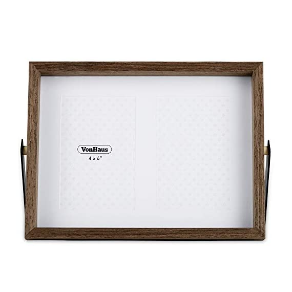 VonHaus 4x6 Tabletop Decorative Picture Frame Fits 2X Photos Walnut Brown Wooden Standing and Leaning Photograph Frame with Iron Bracket - Personalized Gift for Friends and Family - ADAPTABLE POSITIONING – frame can comfortably lean back or be pushed directly above the sturdy bracket for multiple display purposes RUSTIC STYLE – its dark brown, walnut-look wood finish with black iron brackets give the frame an on-trend industrial look RESILIENT MATERIALS – iron bracket is rust resistant and frame is crafted from solid MDF to ensure durability - picture-frames, bedroom-decor, bedroom - 41FryJs0YuL. SS570  -