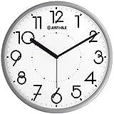 "JustNile Silent Non Ticking Modern Wall Clock - 13"" Silver Frame/Black Hands"