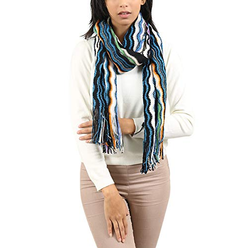 Missoni SA57WMD56260003 Multicolor Zigzag Knit Wool Blend Ladies Stole for womens