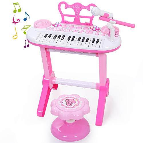 Piano Keyboard Toy for Beginner with Microphone and Stool, 31 Black-and-White Piano Keys for Kids Toddlers Singing Development, Audio Link with Mobile MP3 IPad, Pink