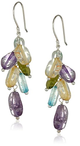 Sterling Silver Multi-Gemstone and Blue Glass Bead Cluster Drop Earrings