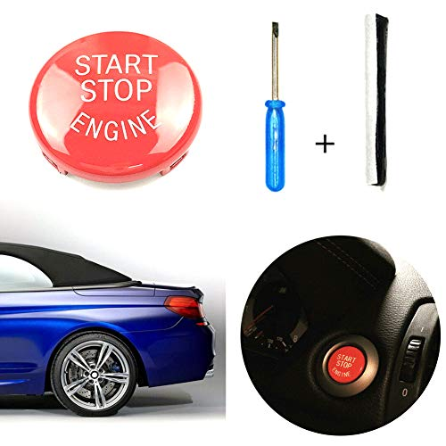 Everrich Sports Red Start Stop Engine Button Switch Cover for BMW E90 E60 E84 E83 E70 E71 E72-Engine Power Ignition Start Stop Button Replacement