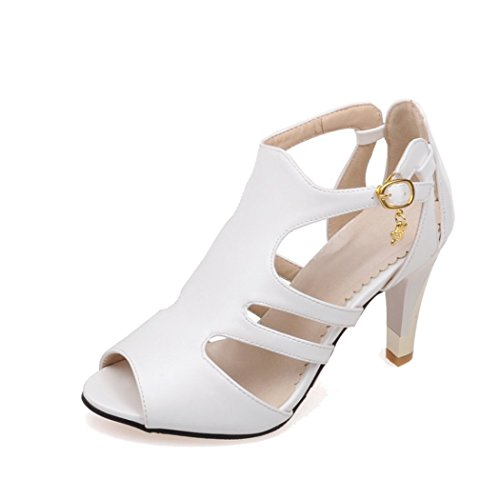 Autumn Melody Stylish Women Sandals Personality Fish Mouth Shoes Charm High Heels Size 9.5 US White