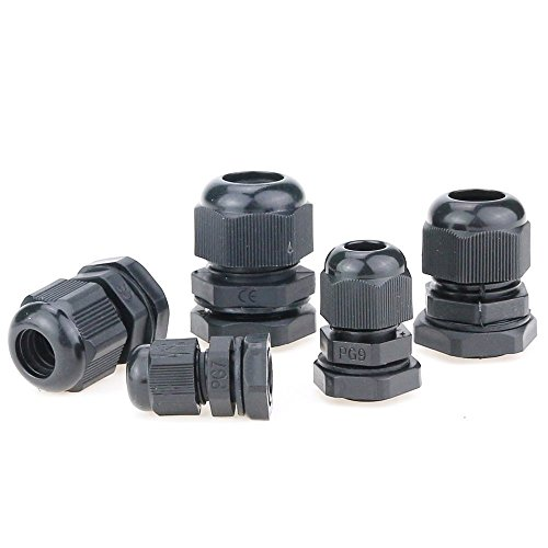 Hilitchi 60 Piece Nylon Plastic Waterproof Adjustable 3.5-13mm Cable Glands Joints Cable Gland - PG7, PG9, PG11, PG13.5, PG16