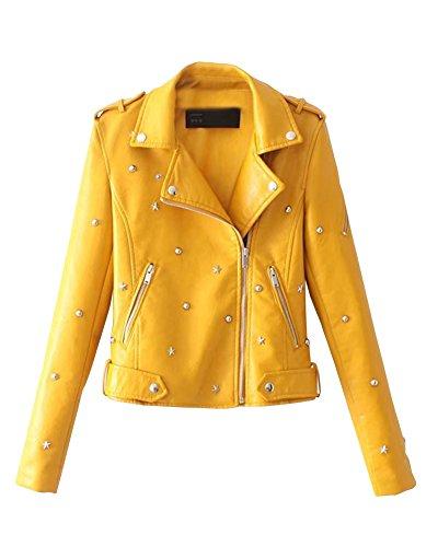 Femme Veste Zipped Jacket Manches Longues Vtement De PU Cuir Slim Fit Manteau Jaune