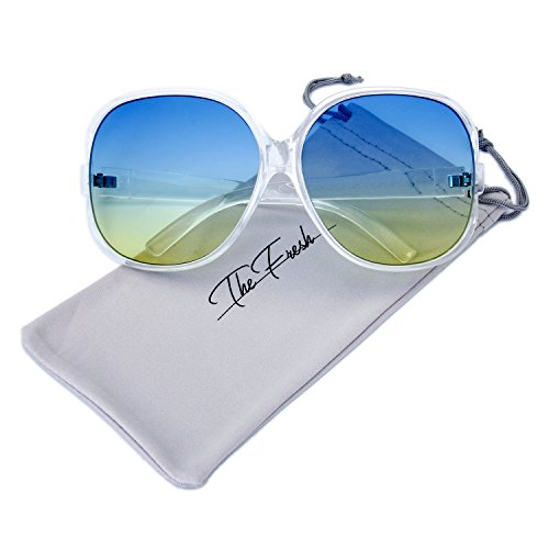 The Fresh New Women's Vintage Style XL Oversized Jackie O Frame Ocean Colored Lens Sunglasses with Gift Box (3-Crystal, - Style Glasses New