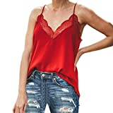 Luweki Womens Workout Clothes Summer Tops Blouse Camisole Lace Tank Tops for Women Girls Plus Size Vest Red