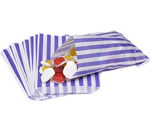 "100 X Candy Stripe Paper Bags Food Bags Stripy Paper Bags – 7"" X 9"" – Purple Stripy Bags"