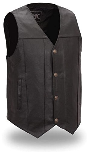 First Manufacturing Men's Buffalo Nickel Vest with Dual Side Internal Concealed Gun Pockets (Black, - Buffalo Vest Nickel