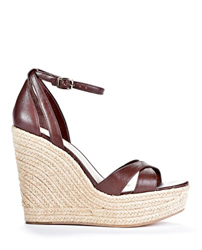 BCBGeneration Womens Holly Open Toe Ankle Strap Leather Wedge Pumps, Cognac, Size 5.5