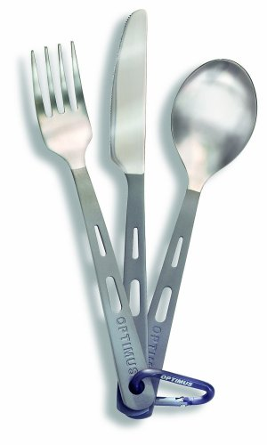 Optimus Titanium 3-Piece Cutlery Set (fork, knife, spoon), Outdoor Stuffs