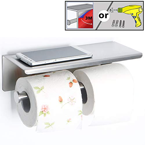 Alise GYT880 Double Toilet Paper Holder Bathroom Tissue Roll Holder with Shelf,Two Installation of 3M Self-Adhesive and Wall Drill,SUS304 Stainless Steel Brushed Nickel ()