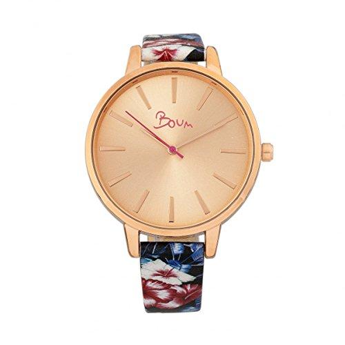 Boum Insouciant Quartz Slim Floral Leather Strap Watch
