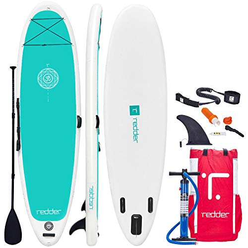 "redder Inflatable Stand-up Paddle Board Zen SUP for Yoga 10'8"" with 3 Fins, Adjustable Paddle, Security Leash, Pump and Backpack"