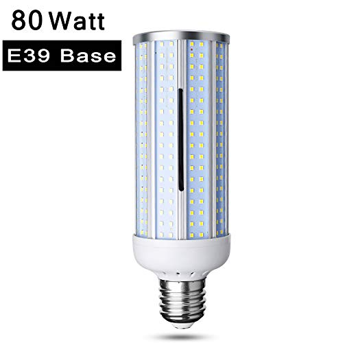 80W LED Corn Light Bulb, Large Mogul E39 Base, 8000-Lumen, 6500K Daylight Cool White,LED Corn Bulb for Indoor Outdoor Large Area Street Lamp Post Lighting Garage Factory Warehouse High Bay Barn Porch