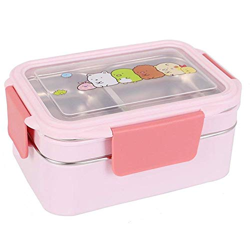 Leakproof Bento Lunch Box by CHOEES Food Grade Stainless Steel Double Insulated Japanese Bento Box 1200ml / 41Oz Large Size (PINK)